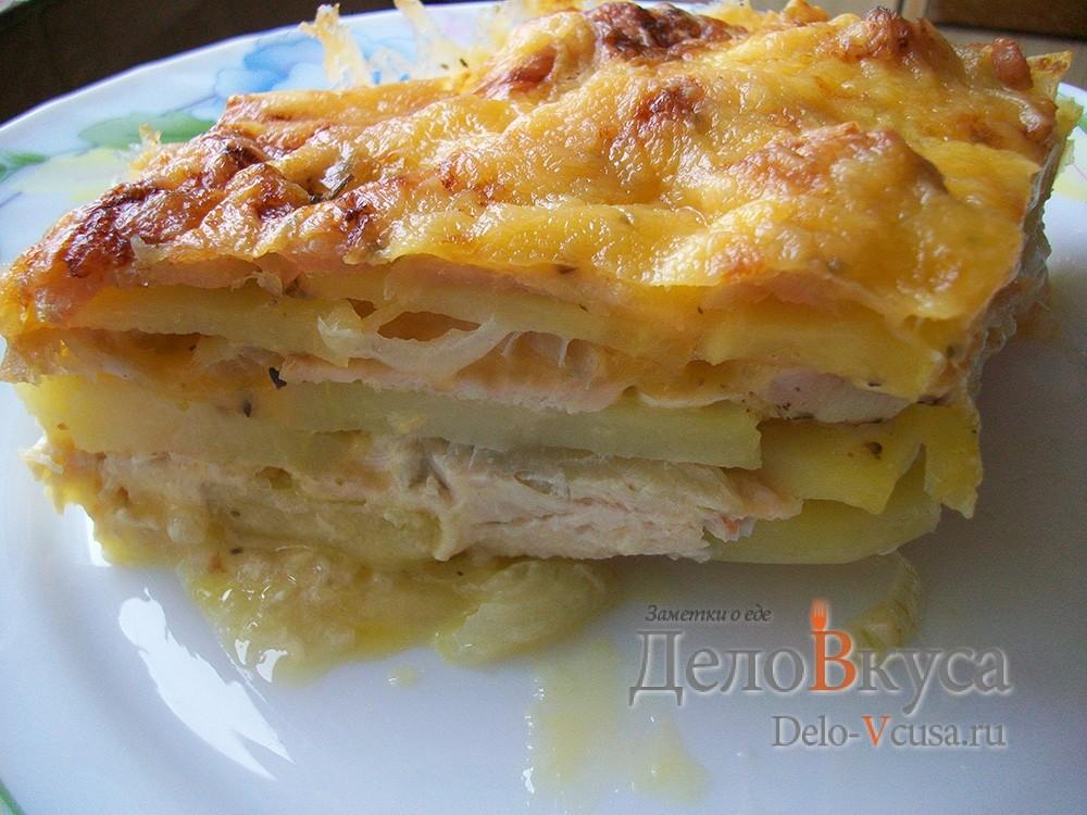 Запеканка картофельная с курицей в духовке фото