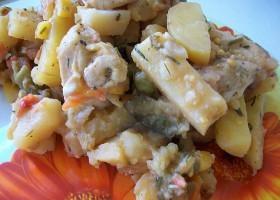 Картошка тушеная с индейкой и овощами