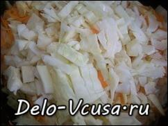 К слегка обжаренной моркове добавляем капусту