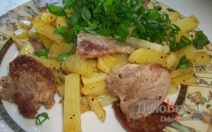 Картошка жареная с мясом. Жареный картофель со свиной вырезкой