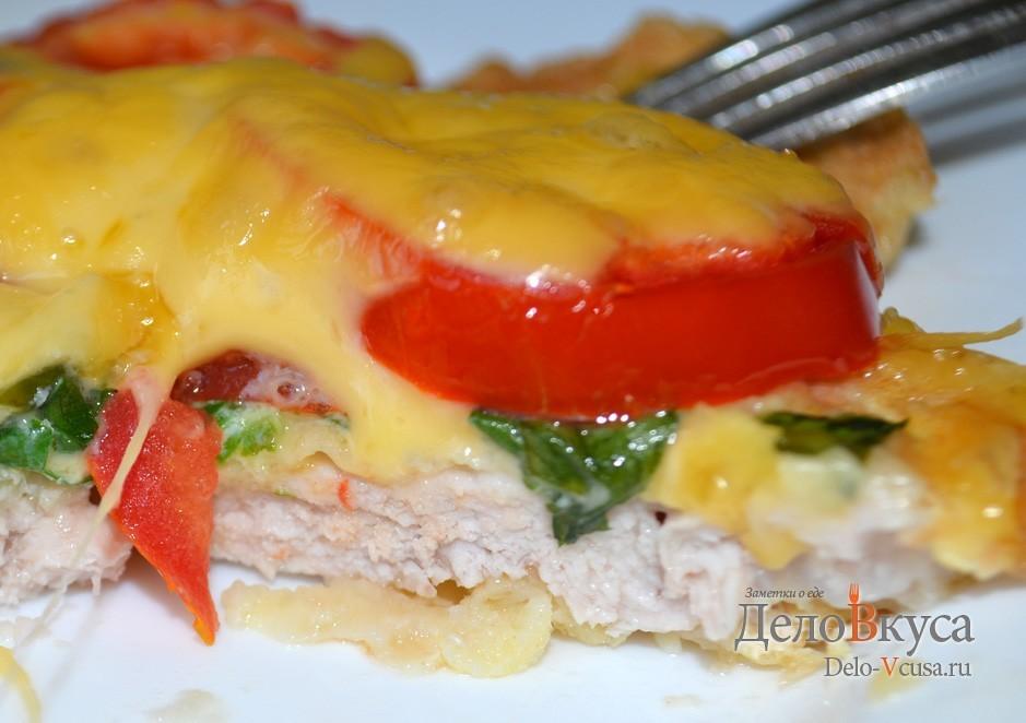 Свиные отбивные с сыром и помидорами рецепт с пошаговый