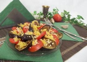 Закуска из баклажан и помидоров с чесноком
