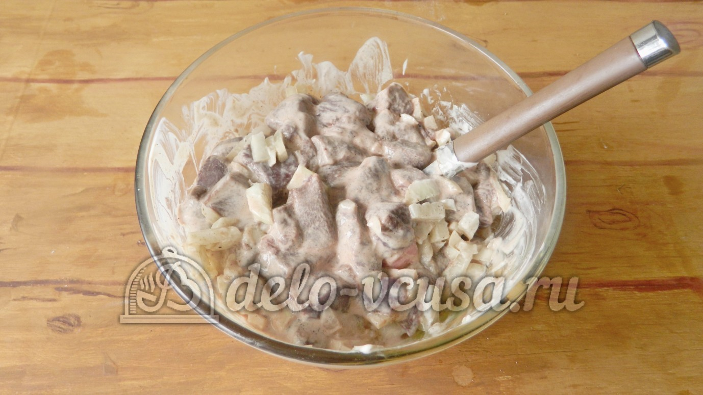 Рецепт куриной печени в сметане с луком пошагово