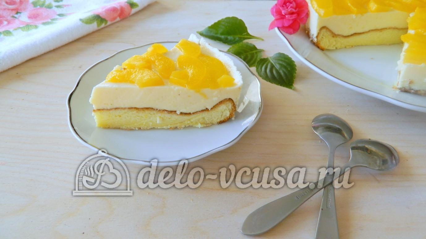 Бисквитный пирог с персиками рецепт пошагово