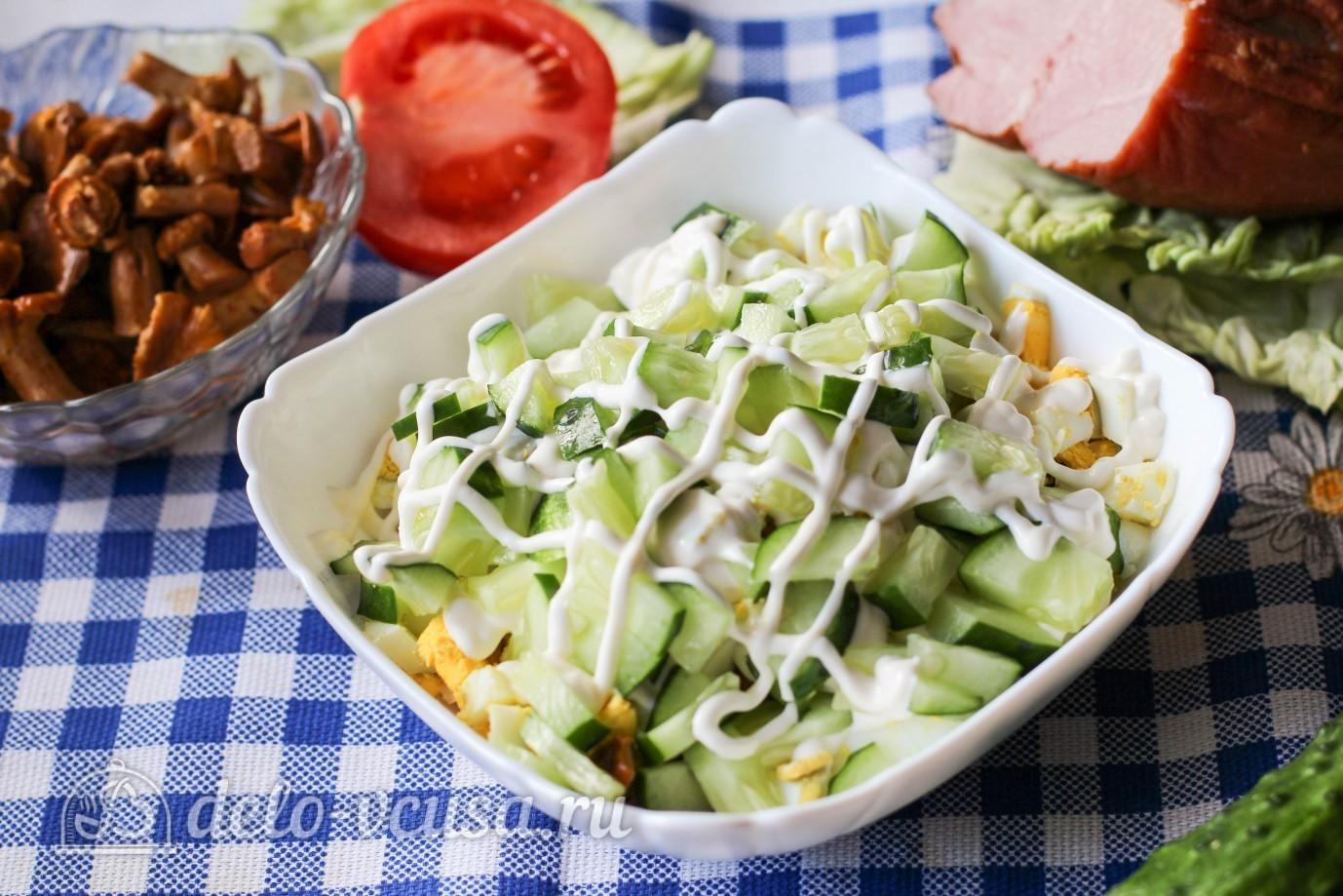 Салат с ветчиной и огурцом свежим рецепт с пошагово
