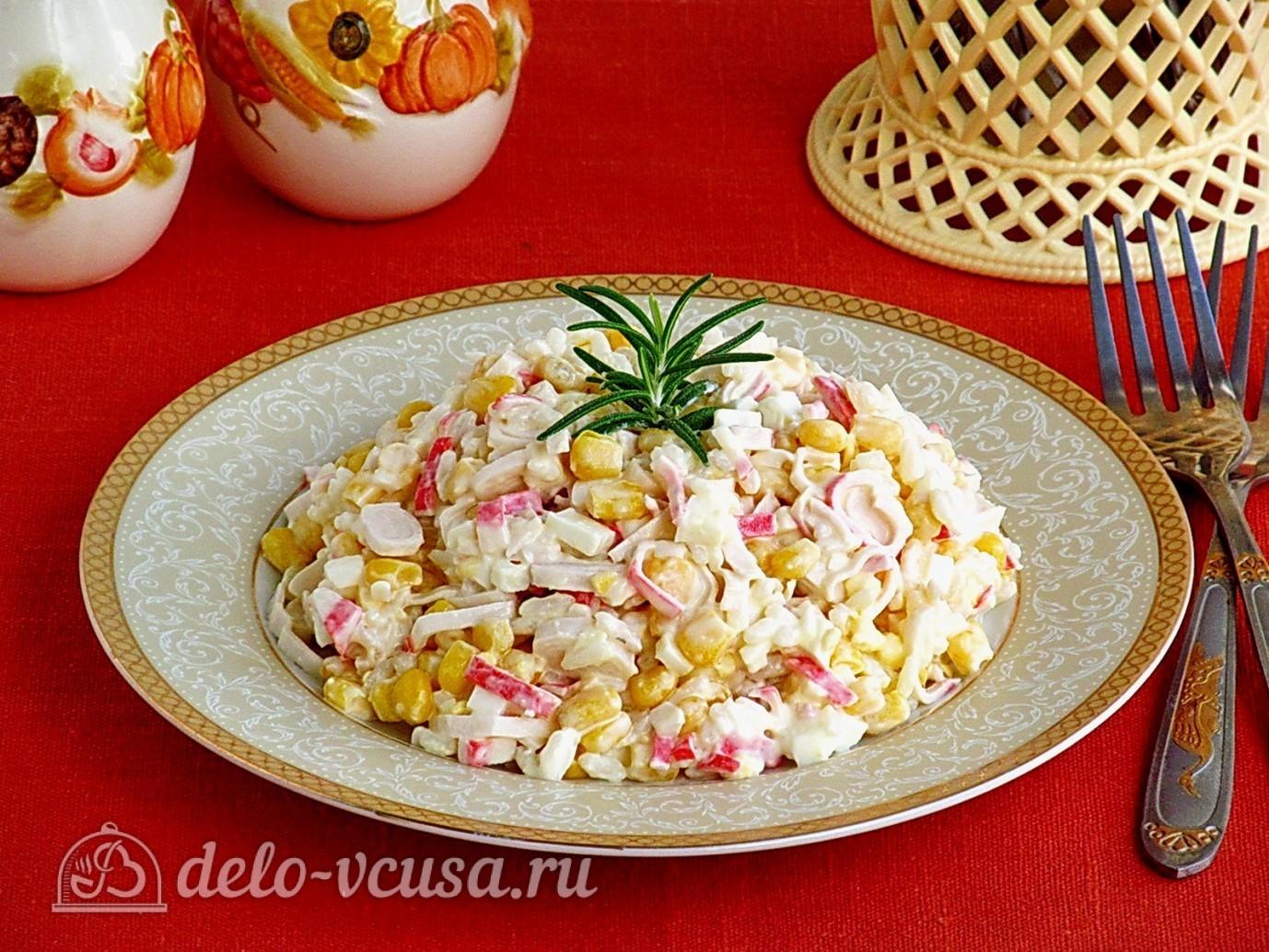 Рецепт салата с крабовыми палочками и рисом пошагово в
