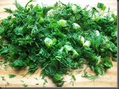 Жареная картошка с куриным филе: Зелень мелко покрошить