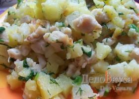Жареная картошка с куриным филе