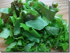 Салат из свежей капусты: Порвать зеленый салат руками