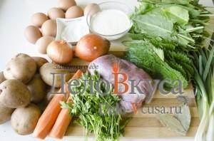 Зеленый борщ со щавелем и крапивой: Ингредиенты