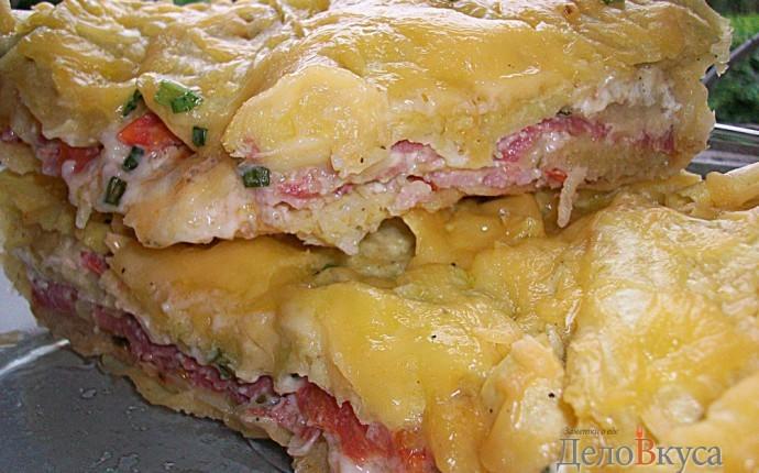 Пирог из лаваша. Пирог из лаваша, помидор, колбасы, буженины, сыра и зелени