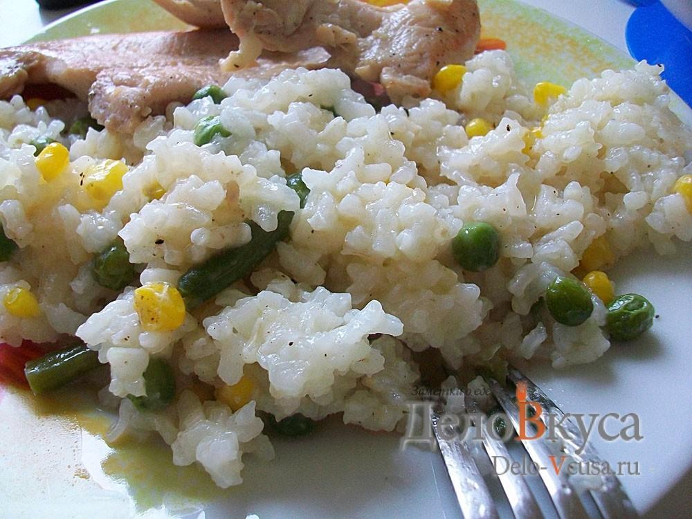Рецепт рис с горошком, кукурузой и стручковой фасолью