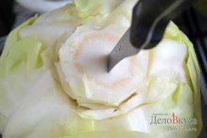 Как снять с капусты листья для голубцов: фото к шагу 1