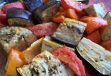 Печеные овощи. Баклажаны, томаты и перцы запеченные в духовке