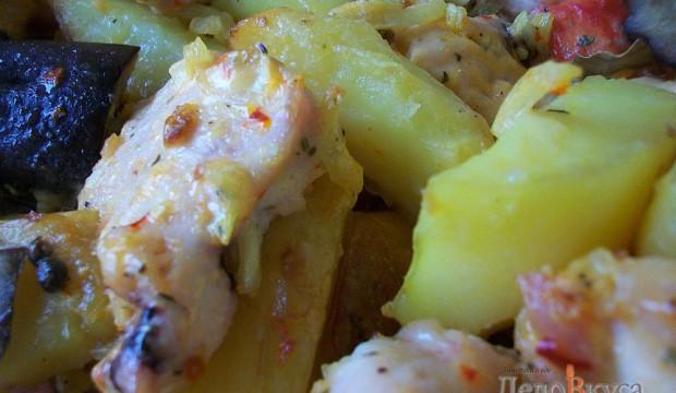картошка в духовке с свининой и овощами рецепт