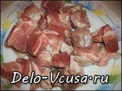 Мясо тушеное в сметане с овощами: фото к шагу 1