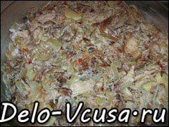 Острая картофельная запеканка с курицей, сосисками и перцем чили: фото к шагу 12.