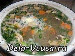 Суп с гречкой и грибами: фото к шагу 12.