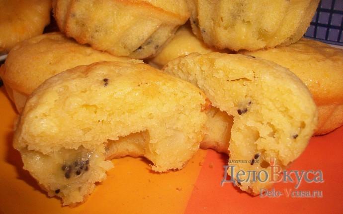 Маффины с киви. Бисквитные кексы с кусочками киви