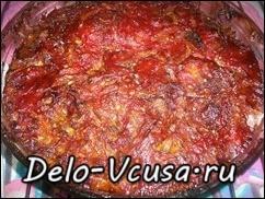 Говядина запечённая в духовке с томатным соусом