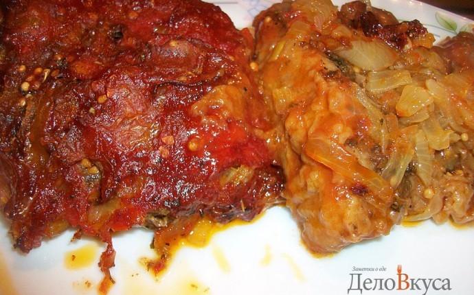 Говядина запеченная в духовке с томатным соусом
