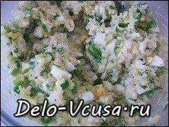 Начинка для пирожков и пирогов из лука, яиц и риса: фото к шагу 5.