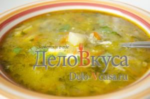 Суп рассольник с рисом и огурцами