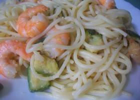 спагетти с креветками и цуккини
