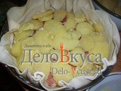 Пирог из слоёного теста с картошкой сыром Моцарелла и пармской ветчиной: фото к шагу 4.