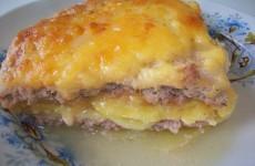 картофельная запеканка с мясным фаршем и сыром