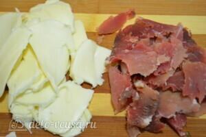 Слоеный пирог с картофелем, болгарским перцем и Пармской ветчиной: фото к шагу 8.
