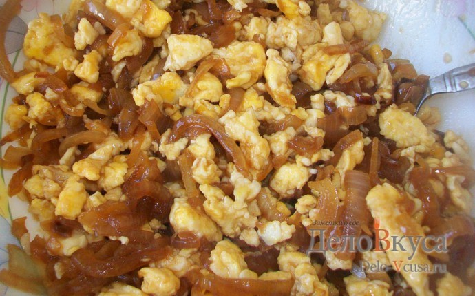 Омлет с луком и соевым соусом. Закуска из яиц и жареного лука в соевом соусе