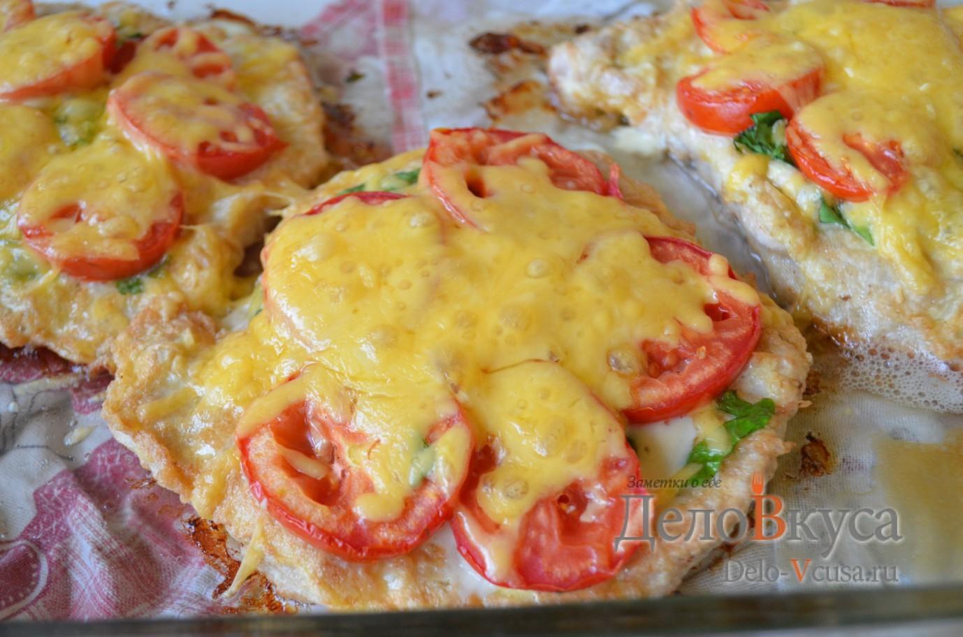 рецепт отбивные с помидорами из свинины в духовке