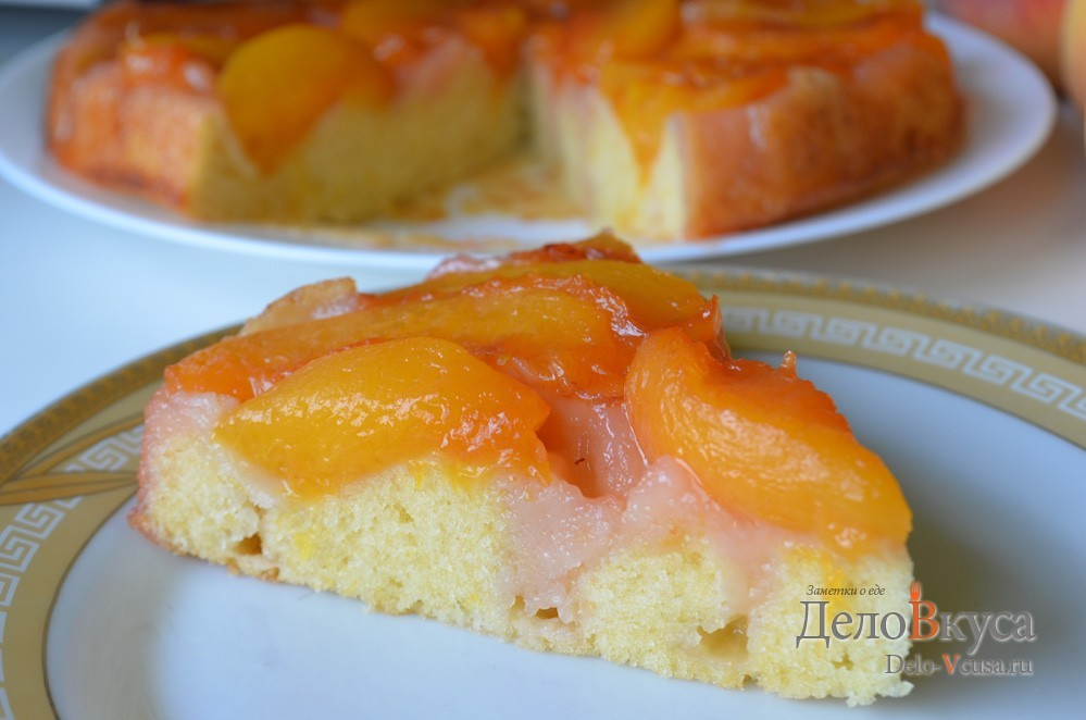 Пирог с персиками свежими