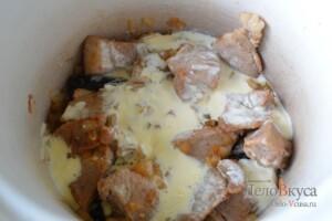 Жаркое по-домашнему с мясом и грибами: фото к шагу 5.