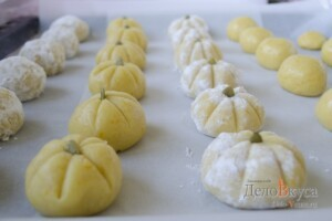 Миндальное печенье. Миндально-апельсиновое песочное печенье. Печенье тыква (на Хэллоуин): фото к шагу 16.