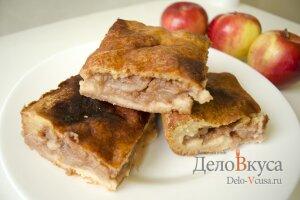 Закрытый яблочный пирог на творожном тесте