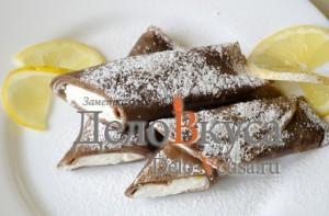 Шоколадные блины с творогом. Сладкие роллы из блинчиков с персиками: фото к шагу 21