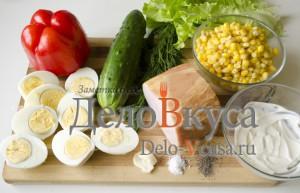 Салат из болгарского перца и ветчины: Ингредиенты