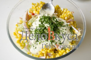 Салат из болгарского перца и ветчины: Смешать все ингредиенты
