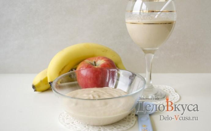 Десерт из яблока, банана и йогурта для самых маленьких