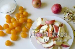Компот из яблок и алычи: Яблоки очистить и порезать