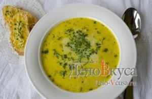 Суп из плавленных сырков с шампиньонами и куриным филе