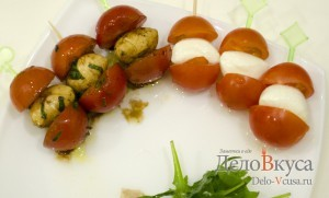 Закуска из моцареллы и помидор на шпажках: Готовим закуску