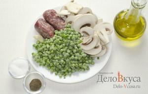 Зеленый горошек с грибами и мясным фаршем на гарнир: Ингредиенты
