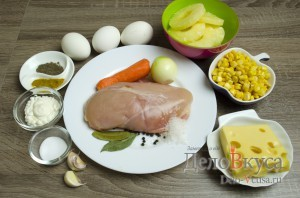 Салат с ананасом и курицей: Ингредиенты