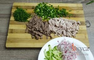 Окрошка на квасе: Мясо порезать соломкой, зелень мелко покрошить