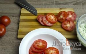 Закуска из помидор и плавленого сыра: Порезать помидоры