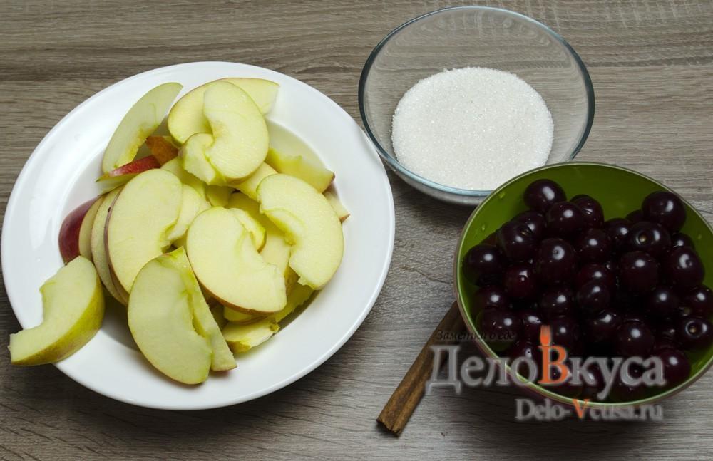 Компот с вишни с яблоками