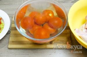 Чахохбили: Залить помидоры кипятком